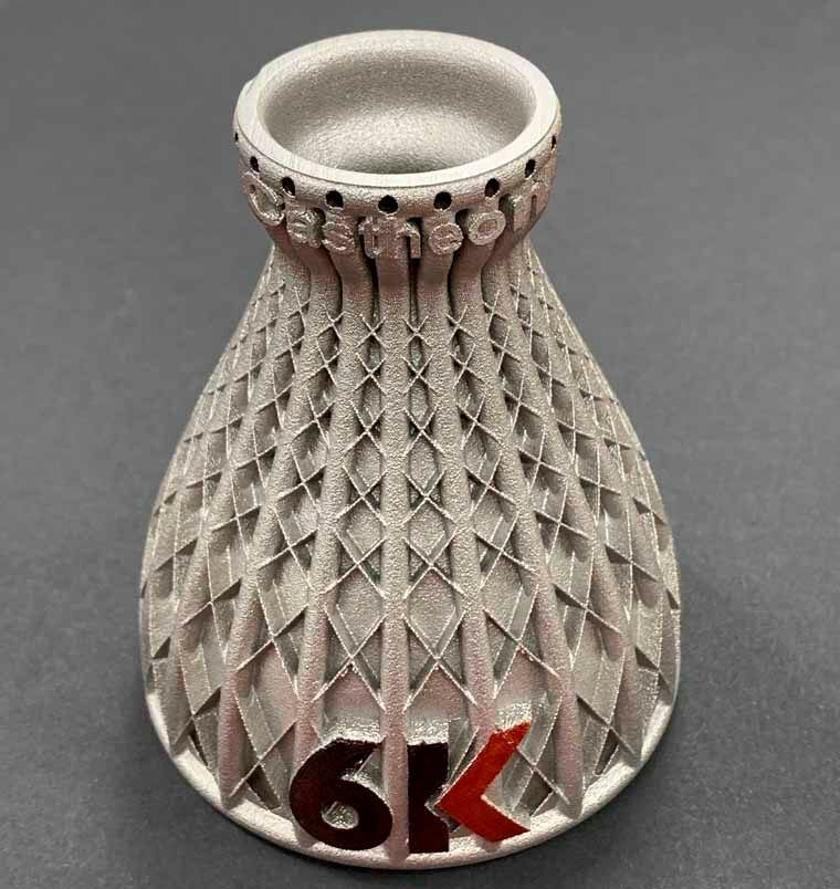 A rocket nozzle printed by Castheon made of 6K powder